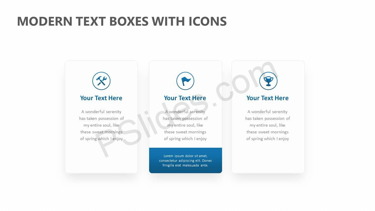 Modern Text Boxes with Icons Slide1