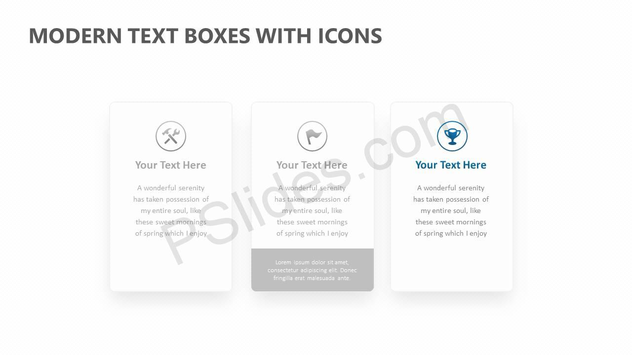 Modern Text Boxes with Icons Slide2