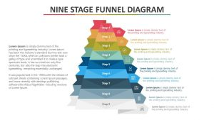 Nine Stage Funnel PowerPoint Diagram