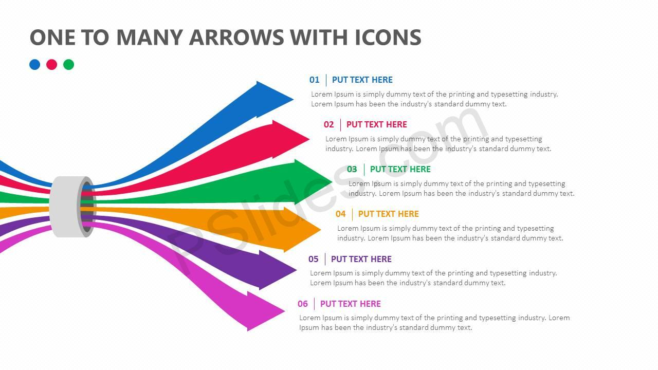 One-To-Many-Arrows-With-Icons-Slide1
