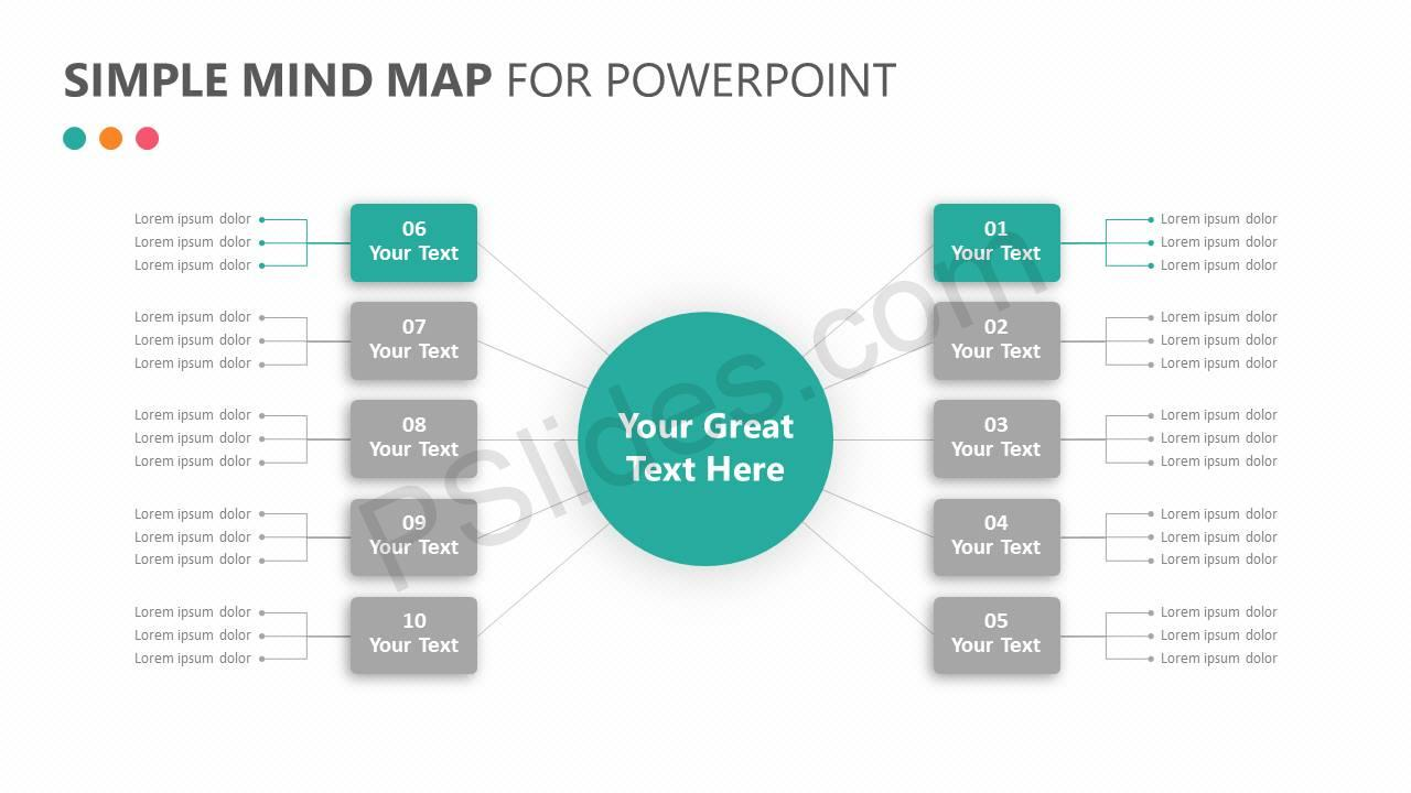 Simple Mind Map for PowerPoint Slide 2