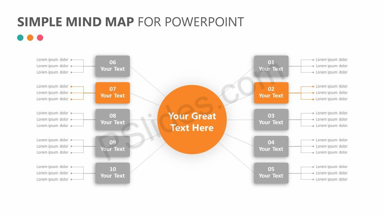 Simple Mind Map for PowerPoint Slide 3