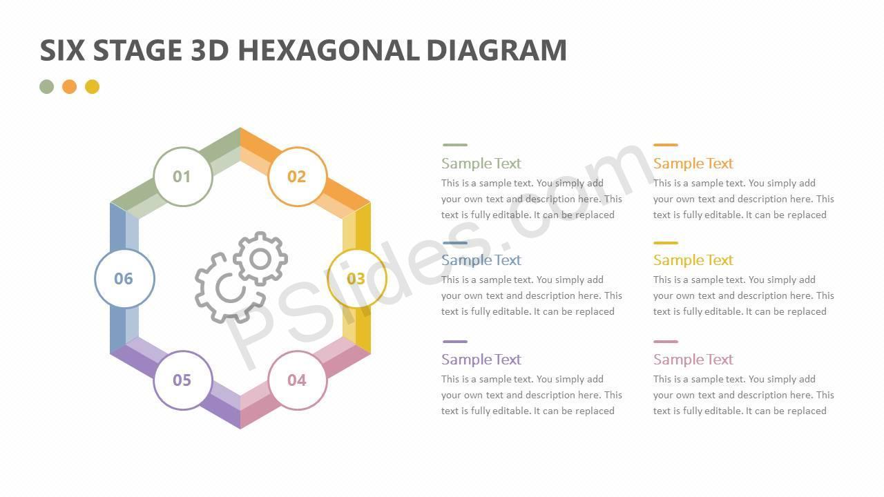 Six Stage 3D Hexagonal Diagram Slide1
