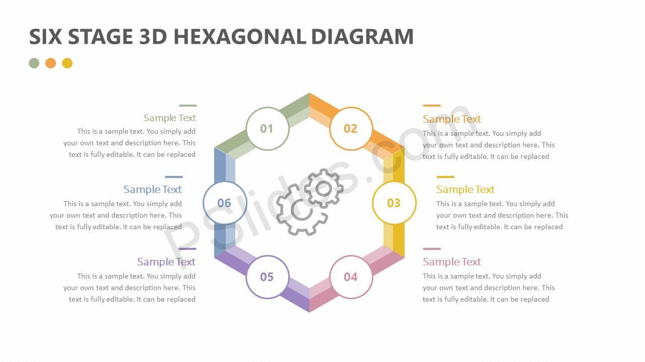 Six Stage 3D Hexagonal Diagram Slide2
