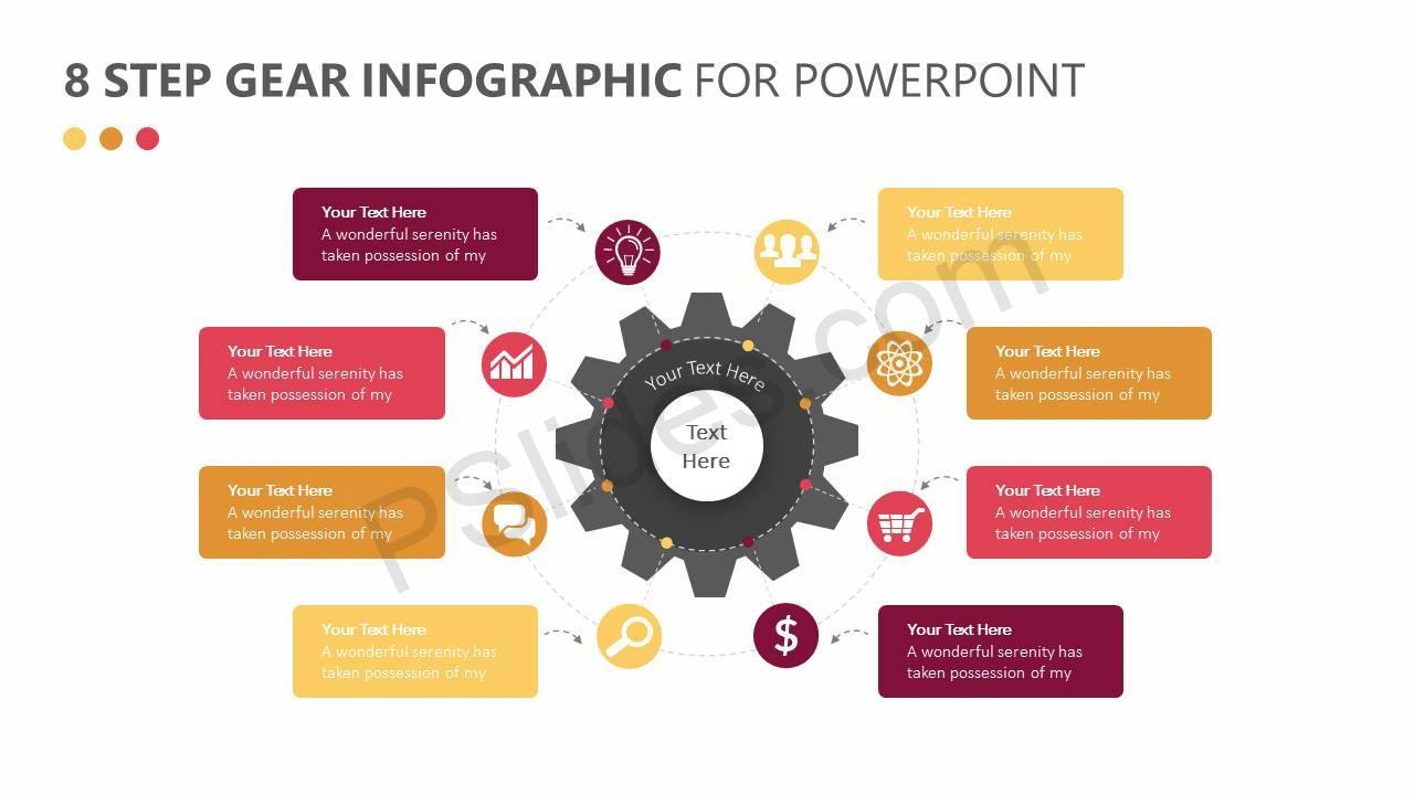 8 step gear infographic for powerpoint pslides