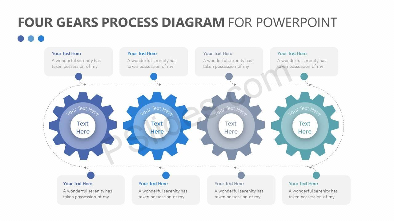 Four Gears Process Diagram for PowerPoint Slide1 four gears process diagram for powerpoint pslides