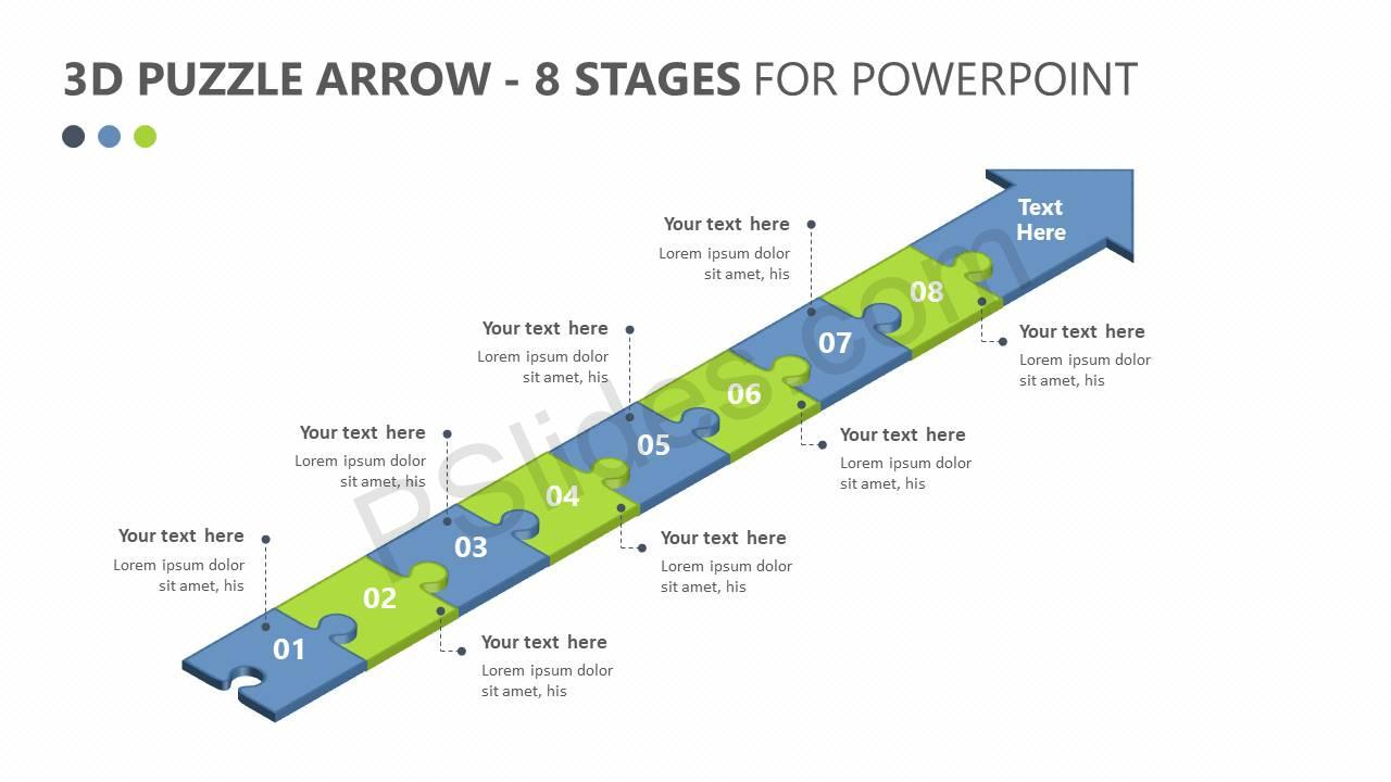 3D-Puzzle-Arrow-8-Stages-For-PowerPoint-Slide1