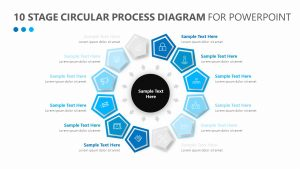 10 Stage Circular Process Diagram for PowerPoint