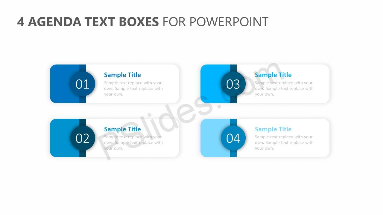 4 Agenda Text Boxes for PowerPoint
