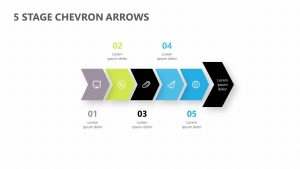 5 Stage Chevron Arrows PPT