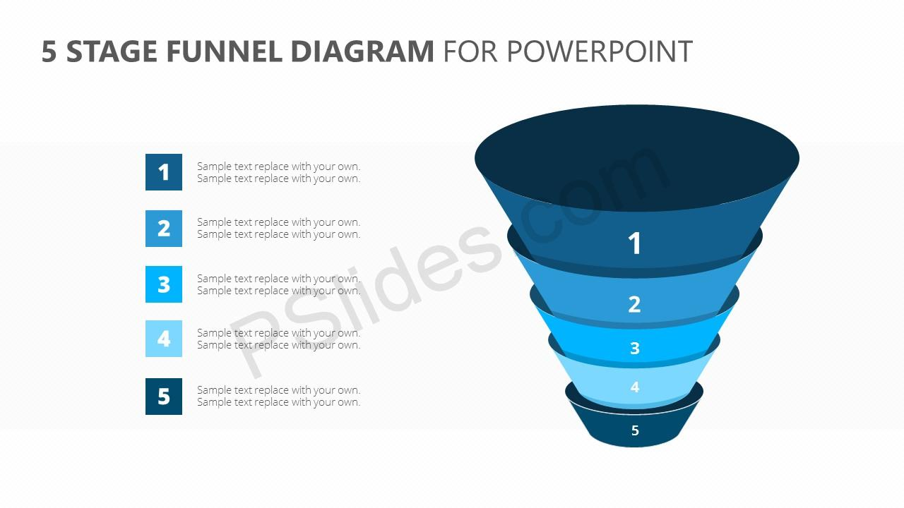 5 Stage Funnel Diagram for PowerPoint