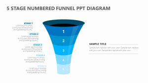 5 Stage Numbered Funnel PPT Diagram
