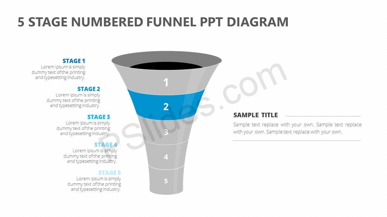 5 Stage Numbered Funnel PPT Diagram Slide 4