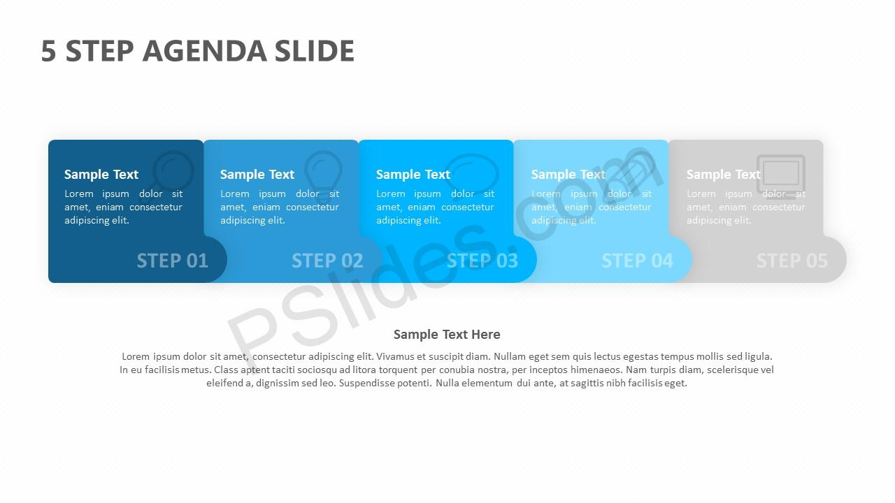 5 Step Agenda PPT Slide