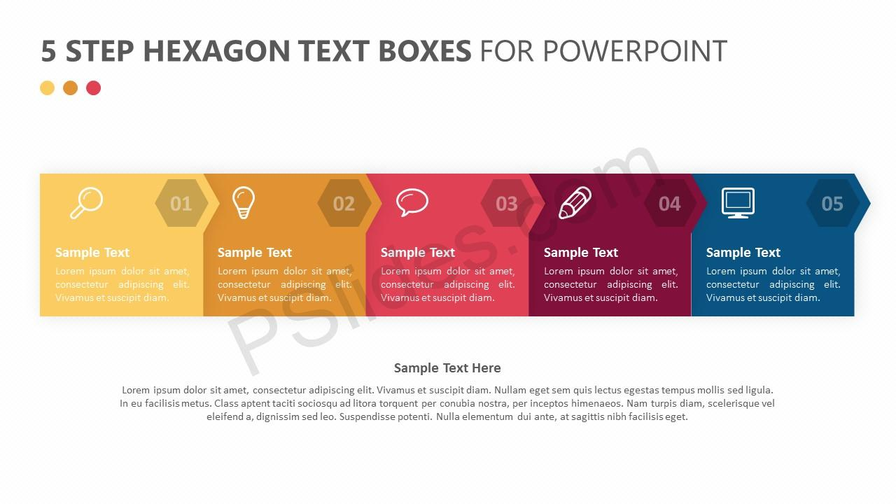 5 Step Hexagon Text Boxes