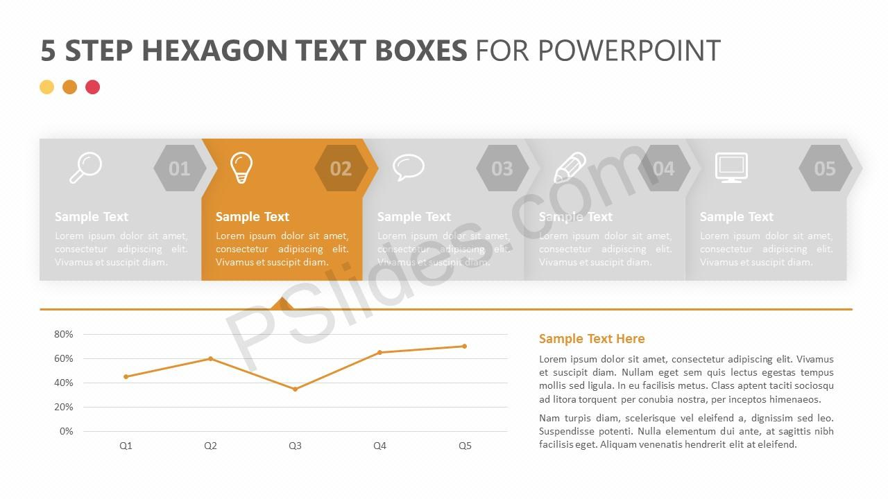 5 Step Hexagon Text Boxes Slide 2