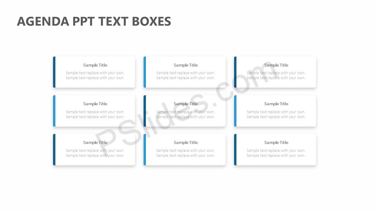 Agenda PPT Text Boxes