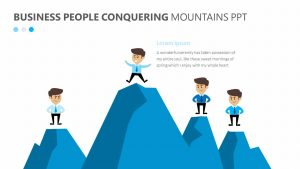 Business People Conquering Mountains PPT