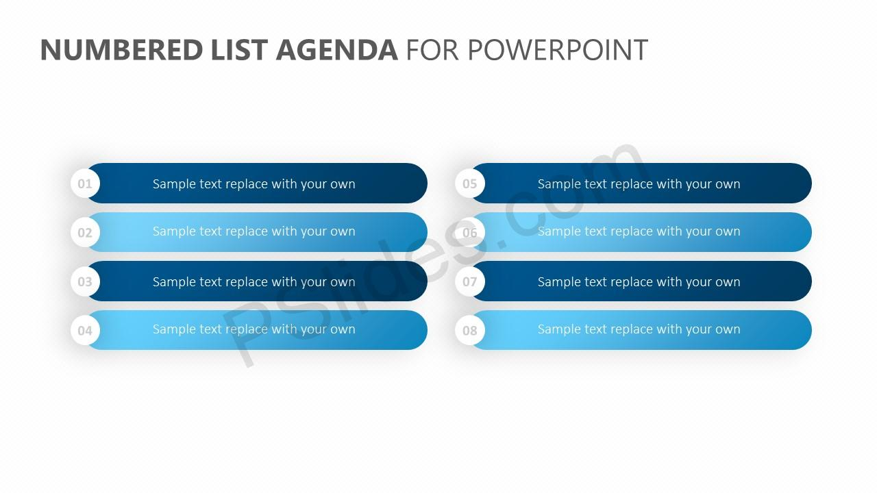 Numbered List Agenda for PowerPoint
