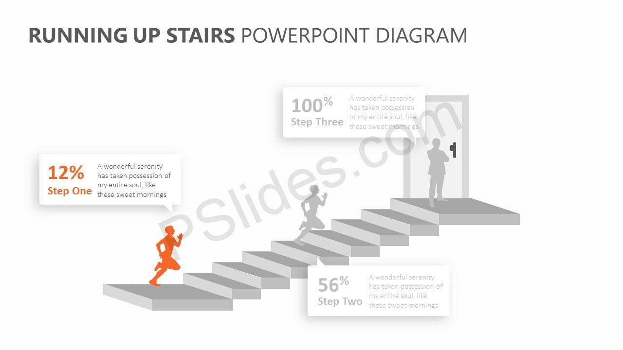 Running Up Stairs PowerPoint Diagram Slide 2