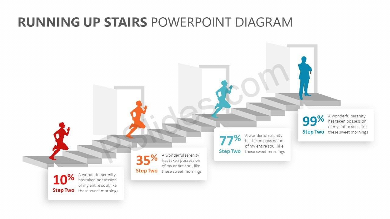 Running Up Stairs PowerPoint Diagram Slide 3