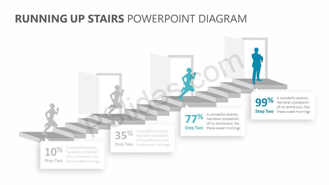 Running Up Stairs PowerPoint Diagram Slide 4