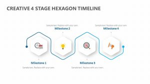 Creative 4 Stage Hexagon Timeline