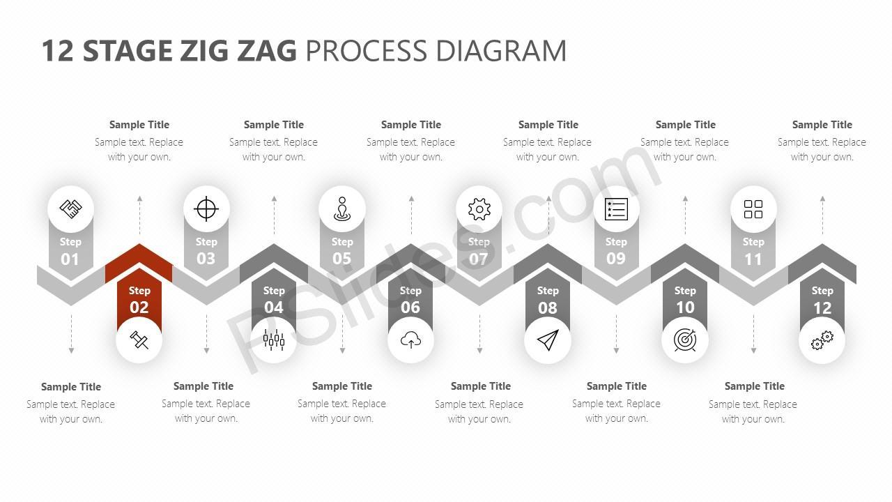 12 Stage Zig Zag Process Diagram Slide 2