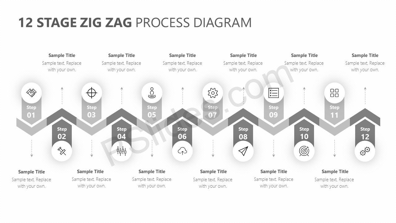 12 Stage Zig Zag Process Diagram Slide 3