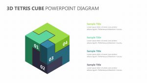 3D Tetris Cube PowerPoint Diagram