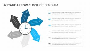 6 Stage Arrow Clock PPT Diagram