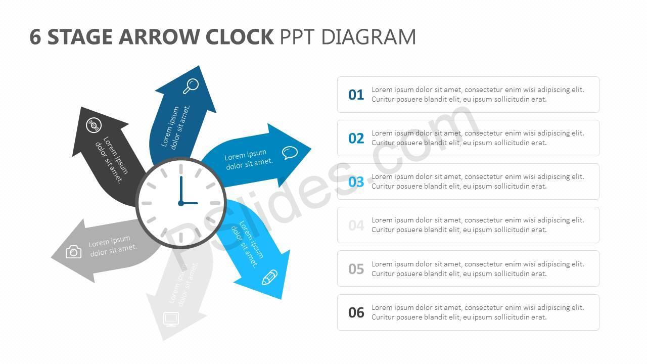 6-Stage-Arrow-Clock-PPT-Diagram-Slide1