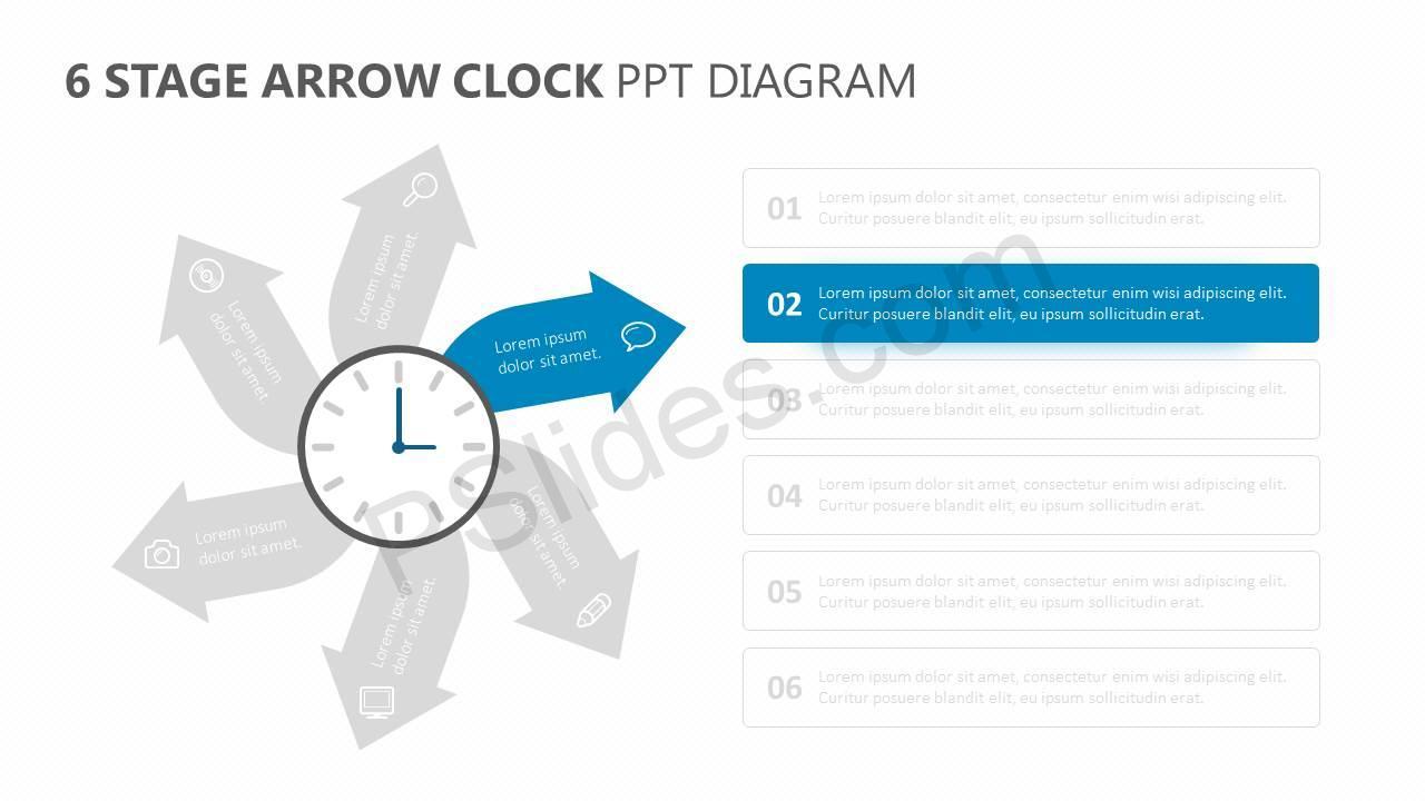 6-Stage-Arrow-Clock-PPT-Diagram-Slide2