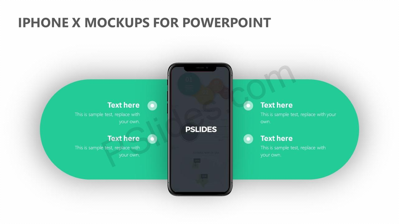 iPhone X Mockups for PowerPoint Slide 2