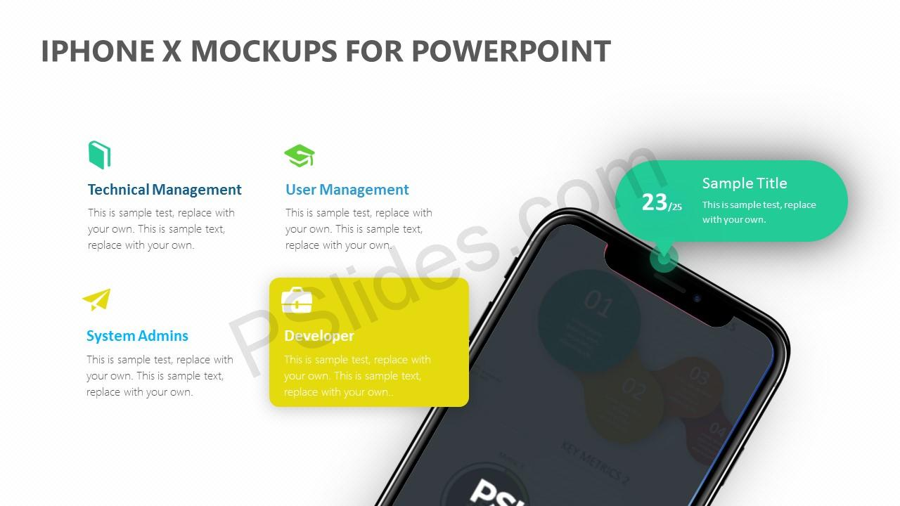 iPhone X Mockups for PowerPoint Slide 3
