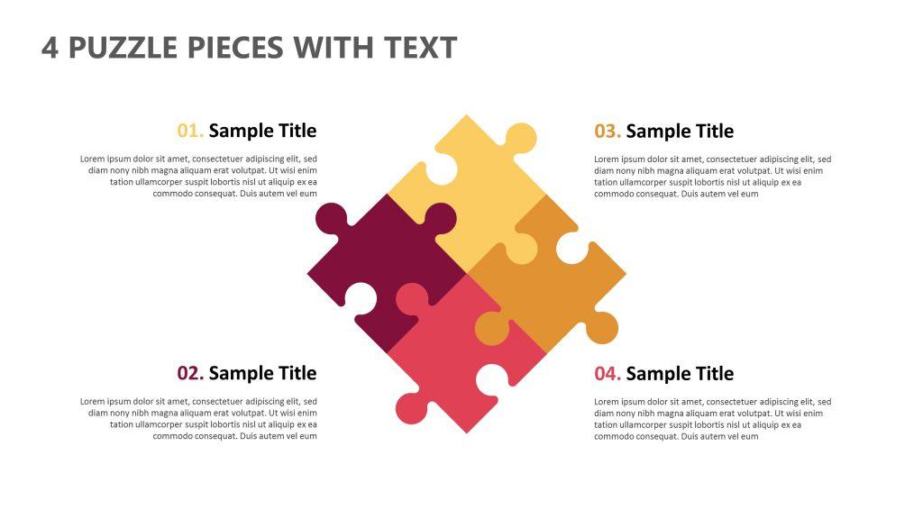 4 puzzle pieces with text pslides. Black Bedroom Furniture Sets. Home Design Ideas