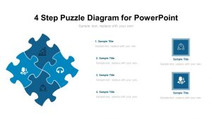 4 Step Puzzle Diagram for PowerPoint