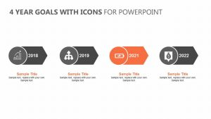 4 Year Goals with Icons for PowerPoint