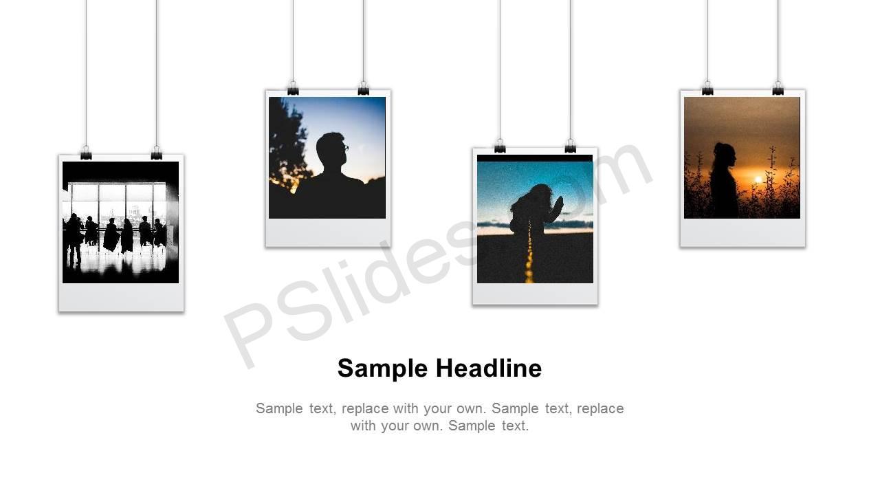 hanging polaroid powerpoint slide pslides