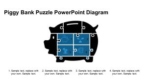 Piggy Bank Puzzle PowerPoint Diagram