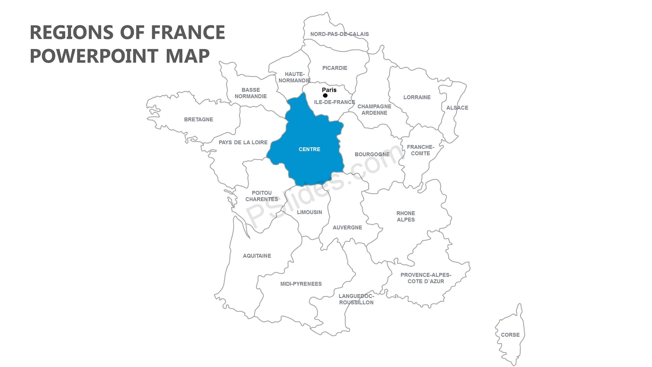 Map Of Regions Of France.Regions Of France Powerpoint Map Pslides