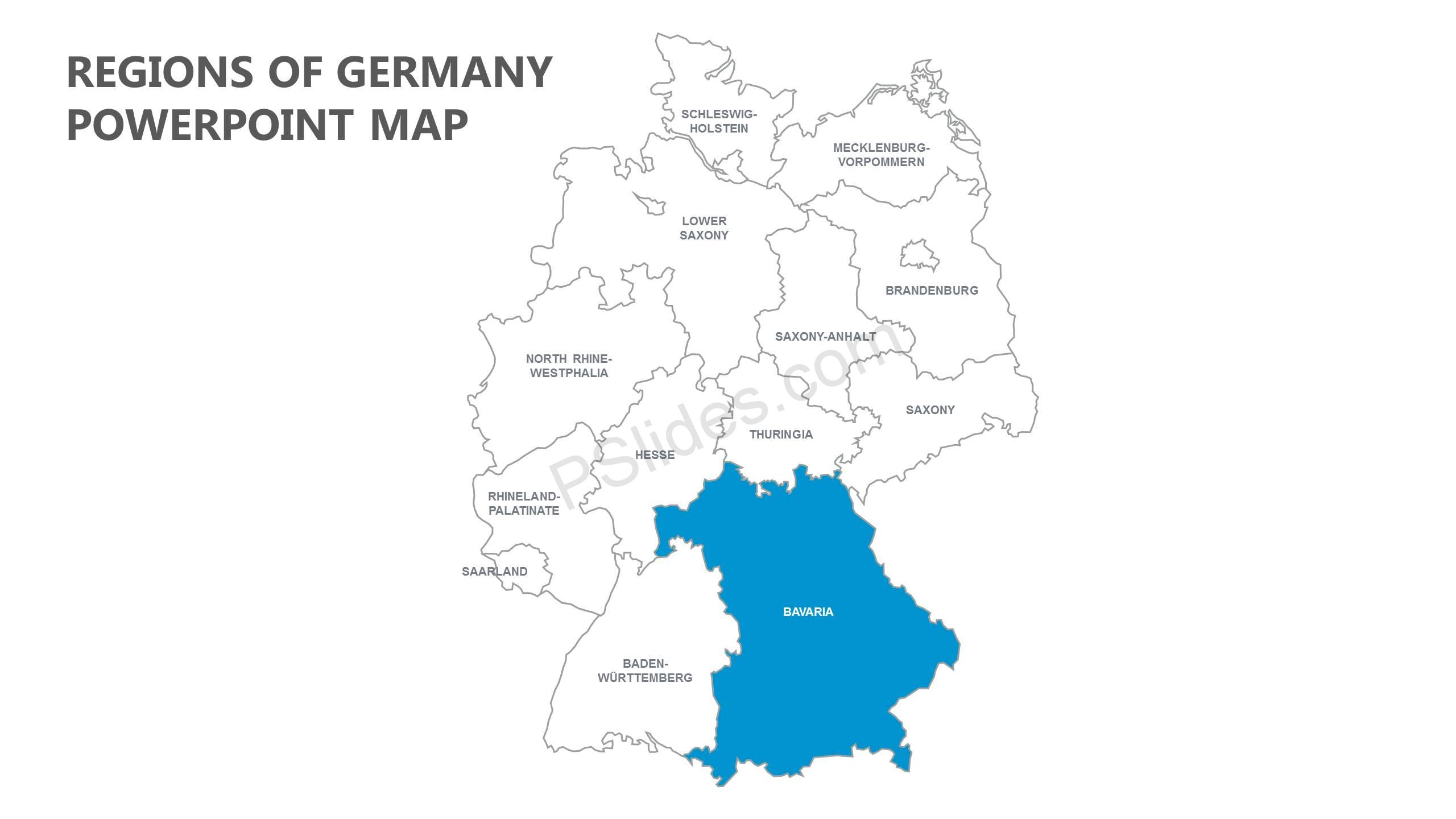 Regions Of Germany Map.Regions Of Germany Powerpoint Map Pslides
