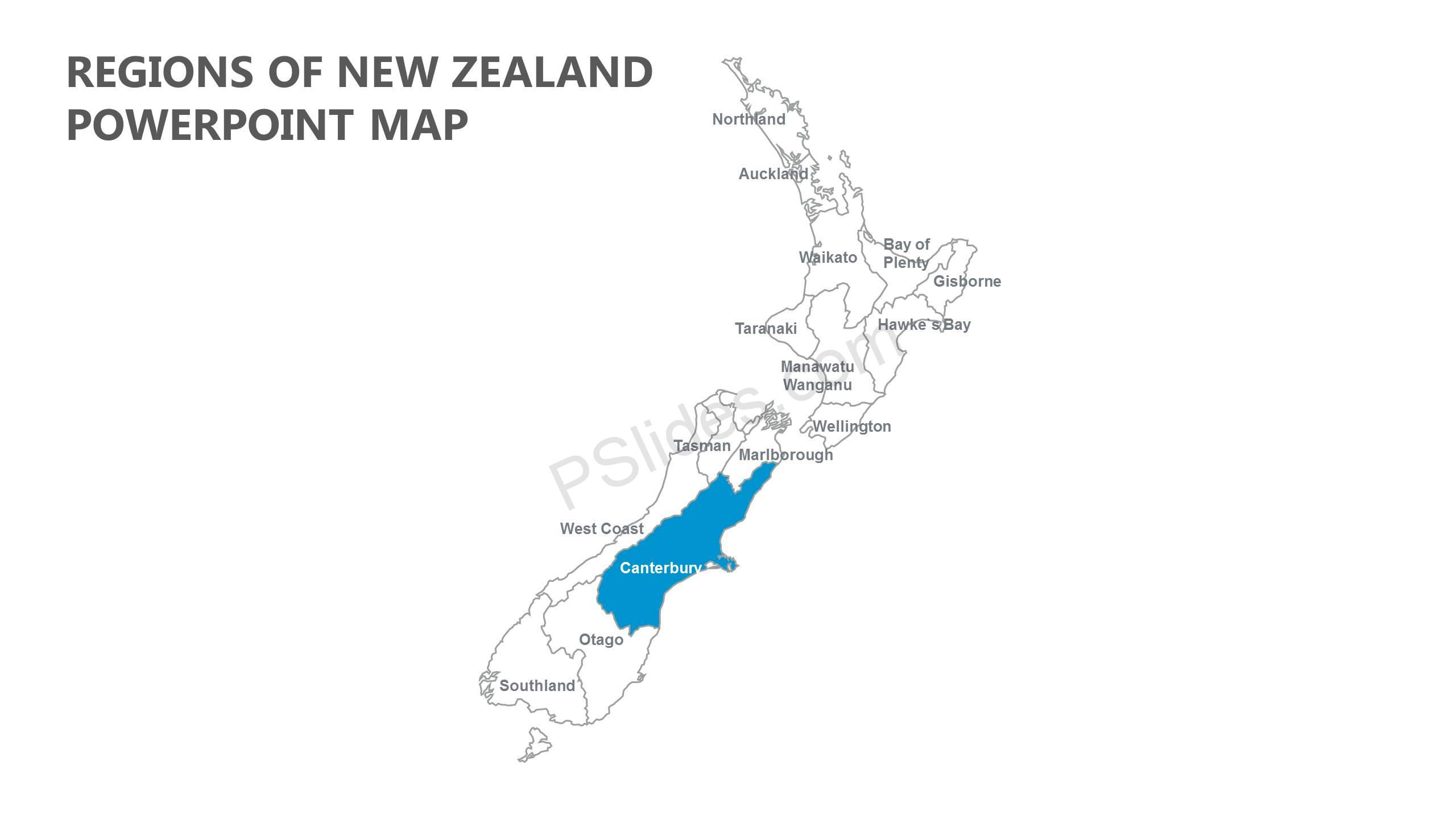 Regions Of New Zealand Powerpoint Map Pslides