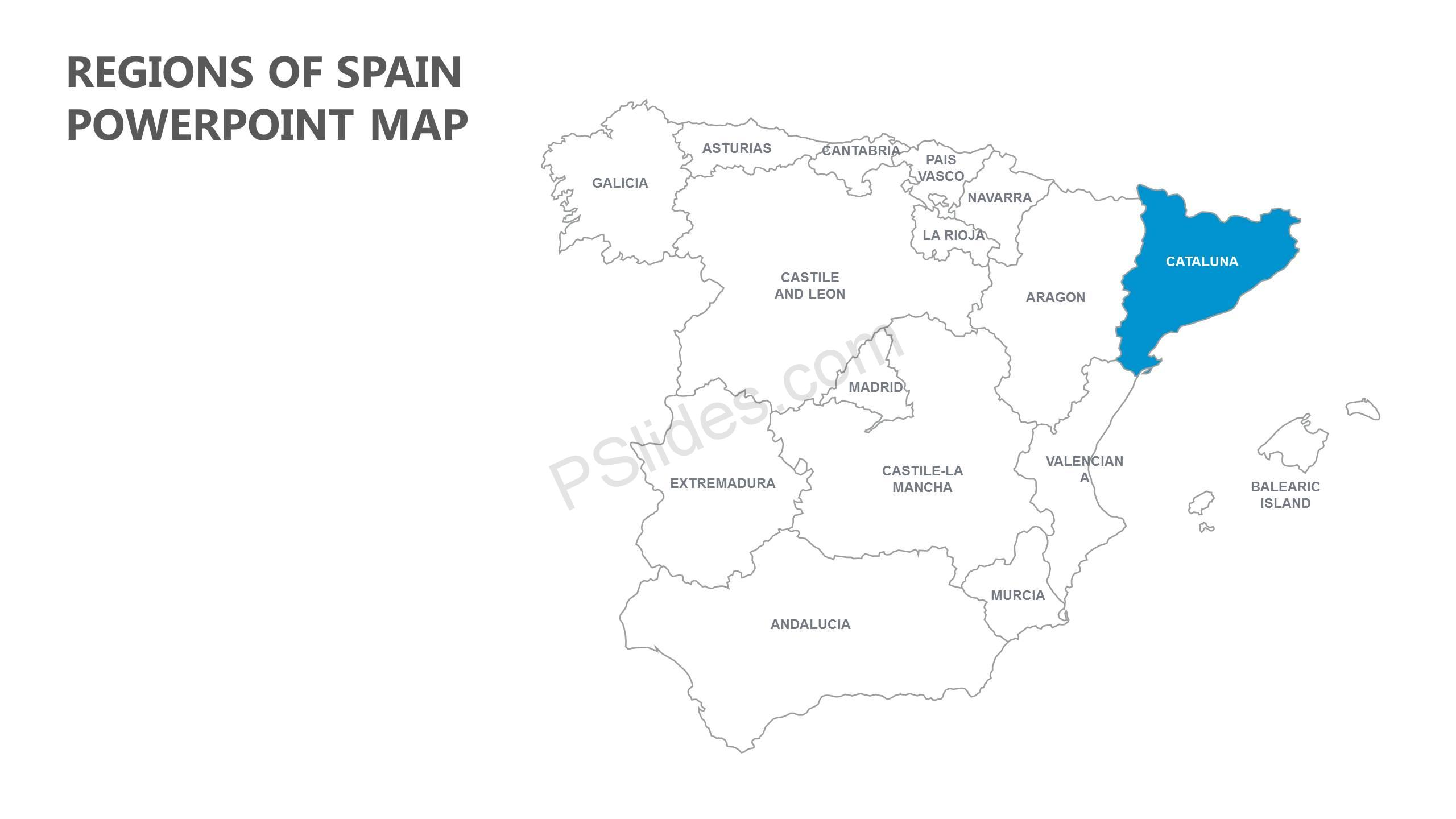 Regions of Spain PowerPoint Map - Pslides