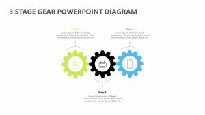 3 Stage Gear PowerPoint Diagram