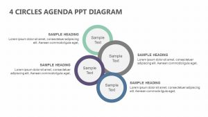 4 Circles Agenda PowerPoint Diagram