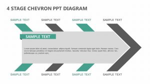 4 Stage Chevron PPT Diagram