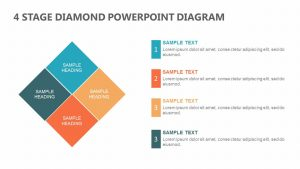 4 Stage Diamond PowerPoint Diagram