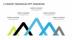 5 Linked Triangles PPT Diagram
