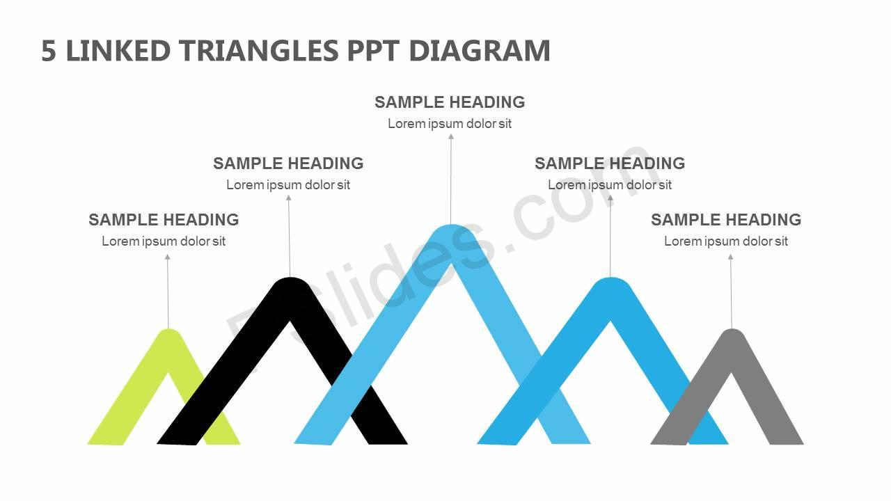 5 linked triangles ppt diagram pslides